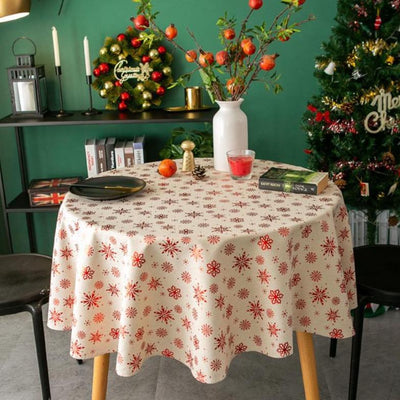 Round Christmas Snowflake Printed Tablecloth Cotton and Linen Holiday Table Cover