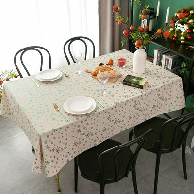 New Year Christmas Tablecloth Snowflake Rectangular Cotton Linen Tablecloth Simple Decoration Cover