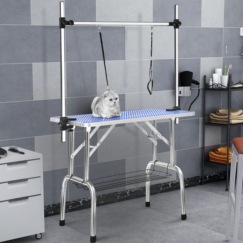 Pet Grooming Table for Dog and Cat with Adjustable Arm and Clamps Large Heavy Duty Animal Grooming Table