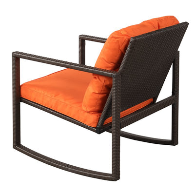 3 Piece Outdoor Wicker Rocking Chair with Coffee Table Garden Patio Chairs Furniture