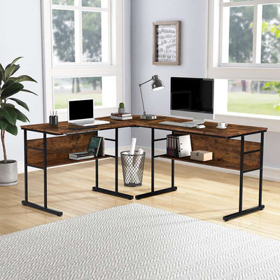 Home Office L-shaped Desk with  Bookshelves and Cpu Stand Multi-function Drafting Drawing Table with Tiltable Desktop