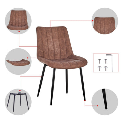 Modern Leather Dining Chairs Kitchen and Dining Room Chair Set of 2