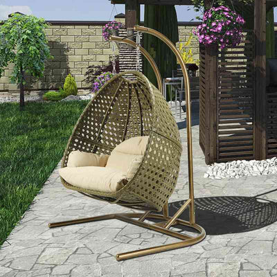 Hanging Egg Rattan Swing Chair with Stand Patio Loveseat Garden Furniture