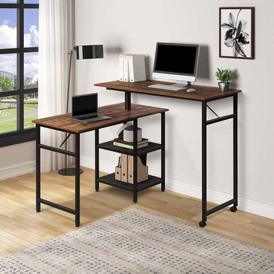 360 Degrees Free Rotating Corner Computer Desk Home Office with Storage Shelf