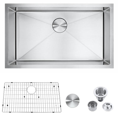 "23"" 30"" 32"" Undermount Kitchen 304 Single Bowl Sink with Integrated Ledge"