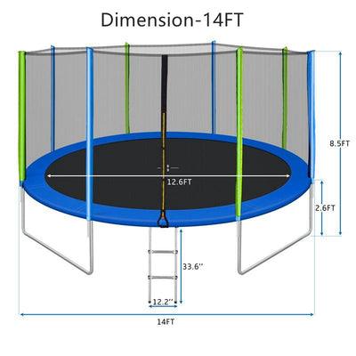 14FT Trampoline for Kids with Safety Net Round Outdoor Recreational Trampoline