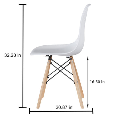 Modern Style Dining Plastic Chair Sets with Walnut-Wood Legs