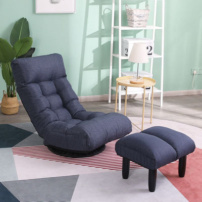 Adjustable 360° Swivel Fabric Folding Floor Chair with Footrest, Reclining Sofa Lazy Sofa Bed Tatami