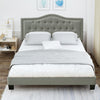 Tufted Upholstered Queen Size Platform Bed with Wood Slat Support