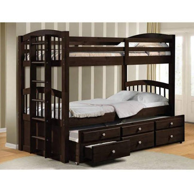 Wooden Twin over Twin Bunk Bed with Trundle 3 Drawers and Stairs