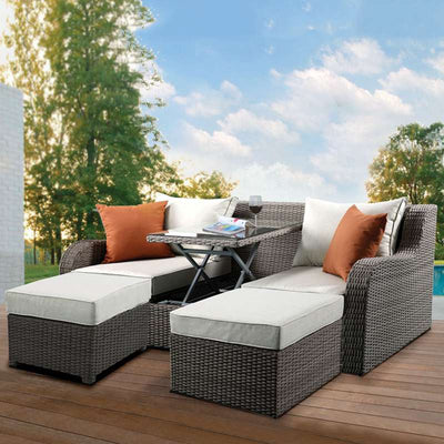Outdoor Patio Loveseat Sofa Furniture Bistro Set with 2 Ottomans 2 Pillows Garden Pool