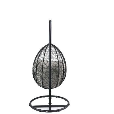 Outdoor Egg Wicker Swing Chair with Stand Front Porch Hanging Chair Patio Garden Furniture
