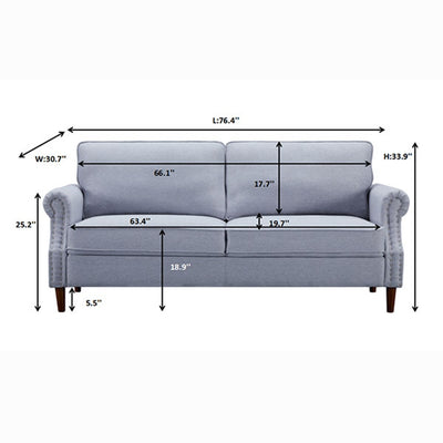 Living Room Sofa 3-Seater Couch Light Grey/ Brown
