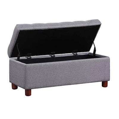 39'' Storage Bench Modern Tufted Linen Fabric Ottoman