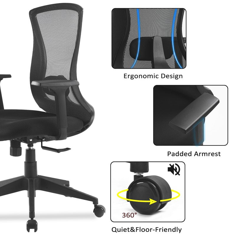 Office Chair with Adjustable Armrests  Executive Swivel Chair Modern Design