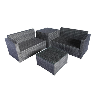 4 Piece Outdoor Sectional Sofa Set Wicker Patio Furniture Garden Seating Couch With Table Storage