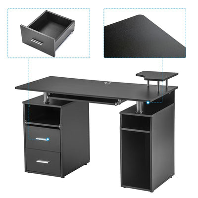Home Office Computer Desk with Pull-Out Keyboard Tray and Drawers