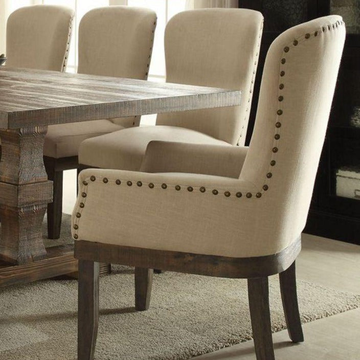 Linen Fabric Upholstery Dining Chair with Nailhead