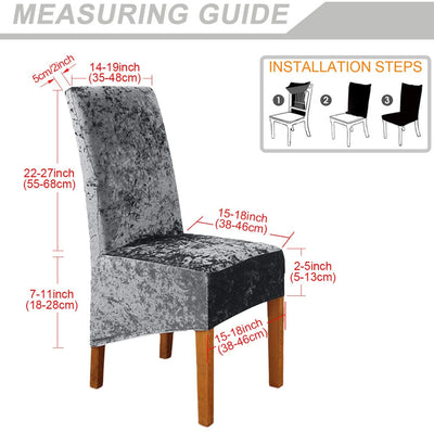 Grey Crushed Velvet Stretchable Elastic Dining Chair Covers for Dining Room Wedding Banquet Party Decoration High Back Chair Protector Slipcover