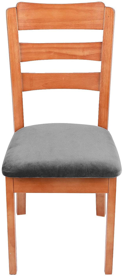Dark Grey Upholstered Stretch Dining Chair Seat Cushion Covers Seat Cushion Protectors Removable Washable Chair Slipcovers
