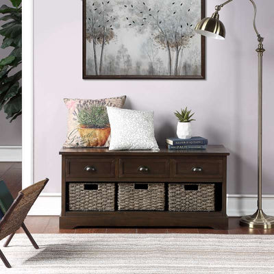 Wood Storage Hallway Bench for Entryway Mudroom with 3 Drawers 3 Baskets