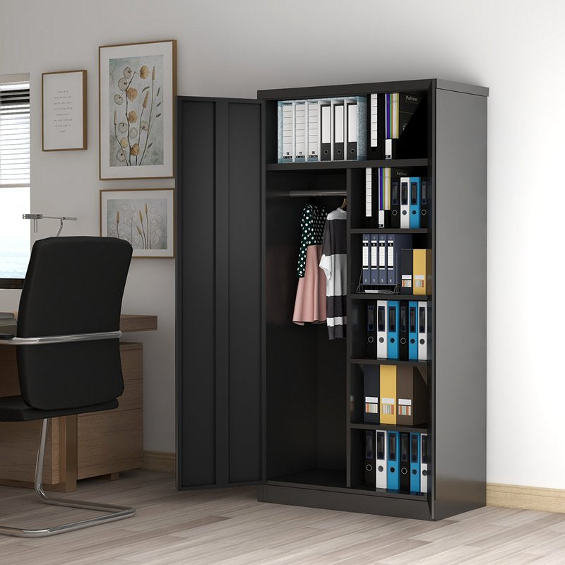 Steel Storage Cabinet Metal Bookcase with 4 Adjustable Shelves and Lockable Doors
