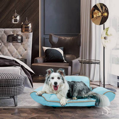 Adjustable Armrests Easy Clean Pet Sofa Vegan Leather Dog Couch Cat Bed