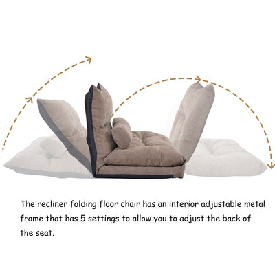 Sofa Bed Adjustable Folding Futon Sofa Video Gaming Sofa Lounge Sofa with Two Pillows