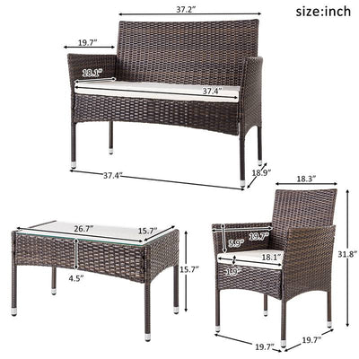 4 Piece Outdoor Patio Wicker Loveseat Chair and Table Garden Furniture Sets