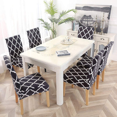 Black Stretch Dining Chair Covers Elastic Chair Seat Protector for Dining Wedding Banquet Party Decoration