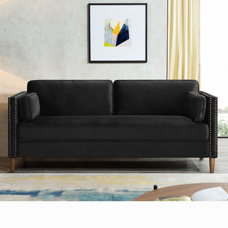 Velvet Sofa 3-Seater Living Room Couch Blue/ Black