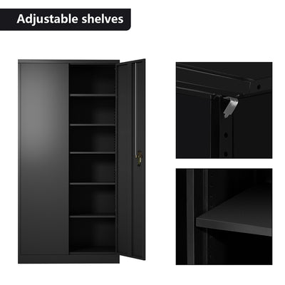 Black Steel Storage Cabinet with 6 Shelves and Lockable Doors
