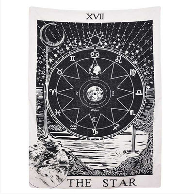 Tarot Wall Tapestry with Star and Moon Aesthetic Tapestry  Medieval Europe Divination Wall Hanging Home Decor