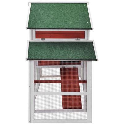 75'' Off-The-Ground Small Pets House Wooden Chicken Coop Rabbit Hutch Bunny Cage with Tray