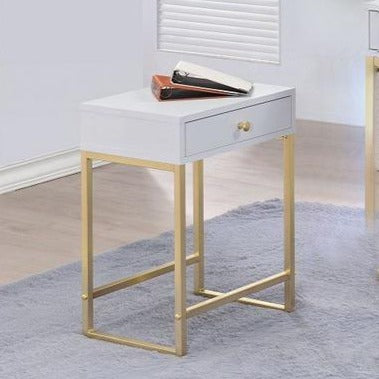 Fashion Morden Nightstand End Table with 1 Drawer Brass Base Side Table