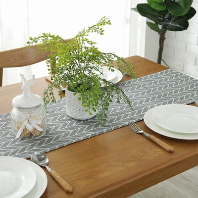 Grey Arrow Cotton and Linen Table Runner Simple Geometric Style