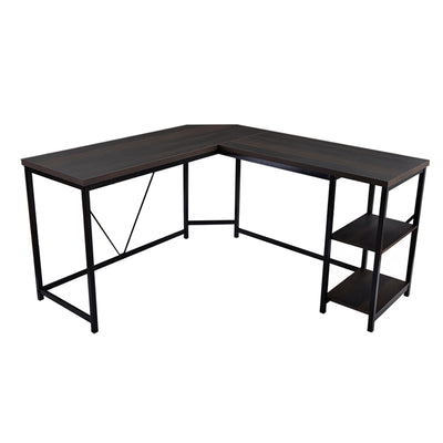 L Shaped Gaming Desk with 2-Tier Storage Shelves Solid metal frame Foot Rest