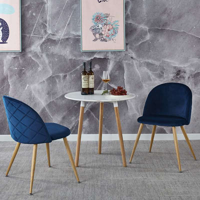Modern Dining Velvet Cushion Chair With Metal Wood Color Leg Set of 2