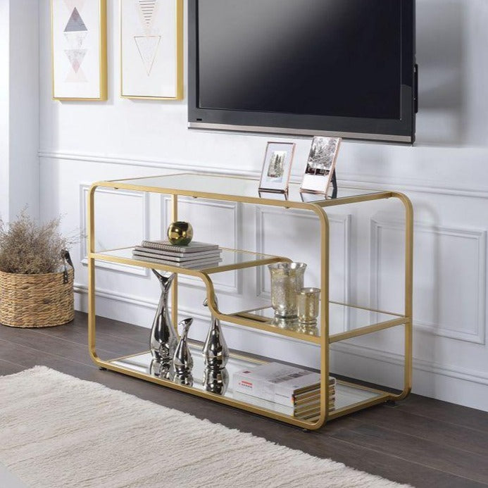 Stylish Console Table TV Stand with Mirror Shelf Gold Frame