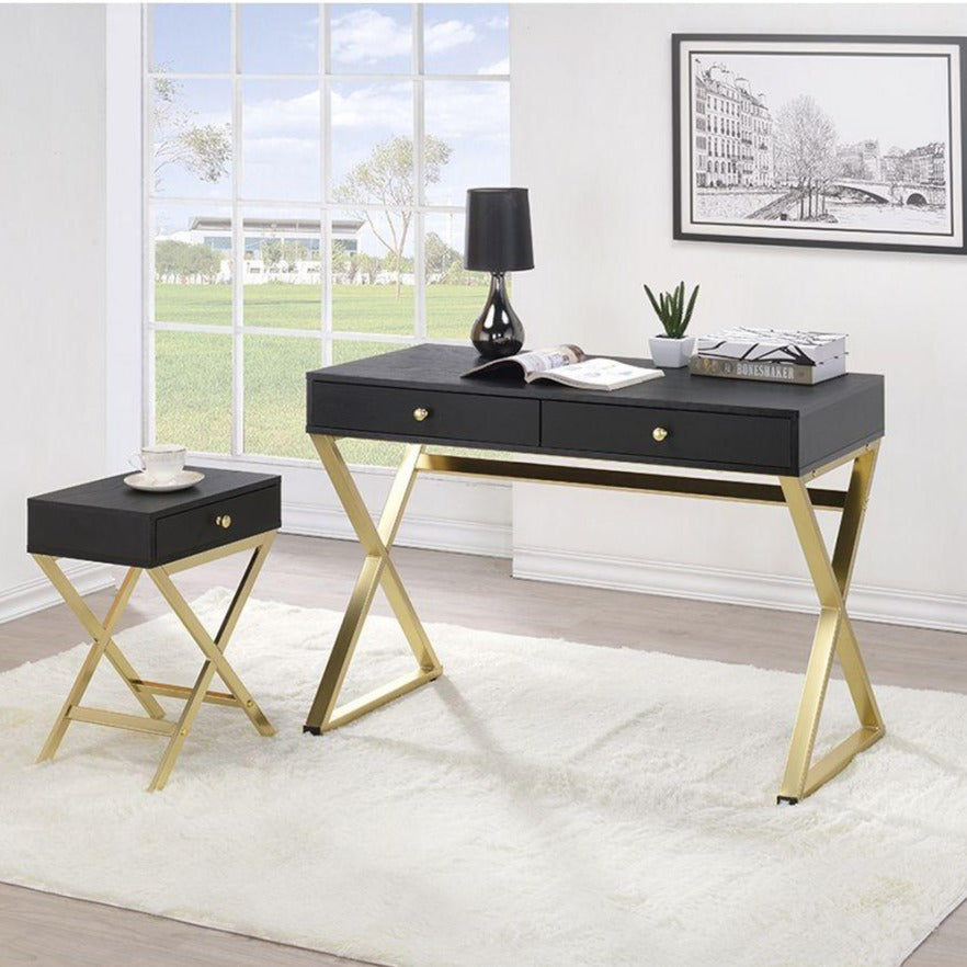 Black Computer Desk with 2 Drawers X-shaped Frame for Home Office