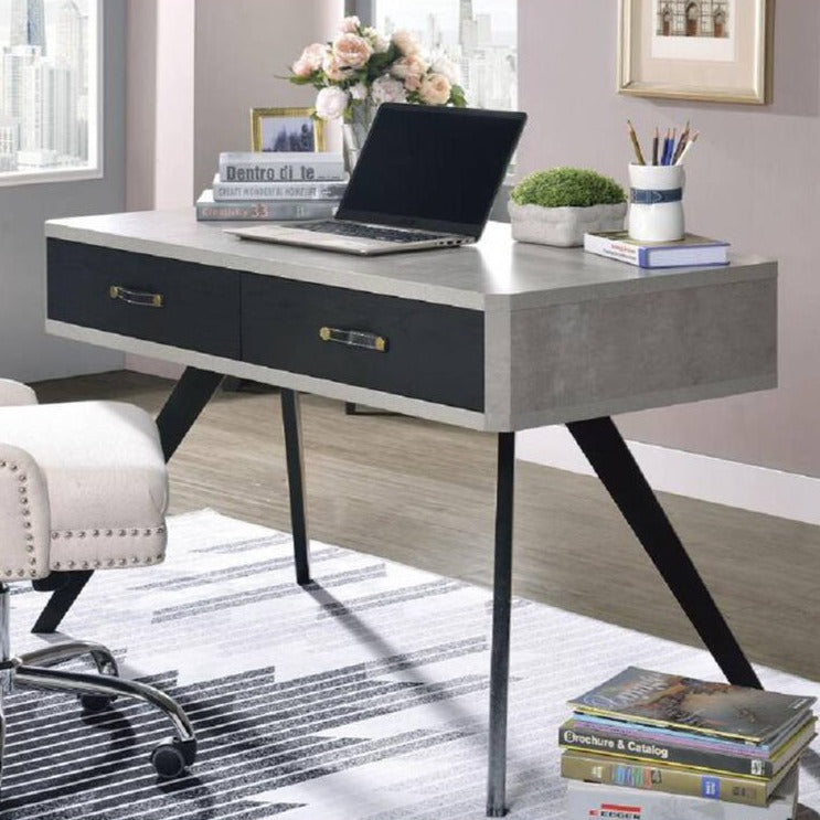 Polished Faux Concrete Desk Black Finish Sleek Table with 2 Drawers