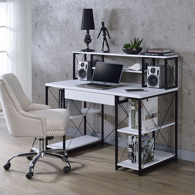 Home Office Computer Desk with Ample Bookshelves and Drawer