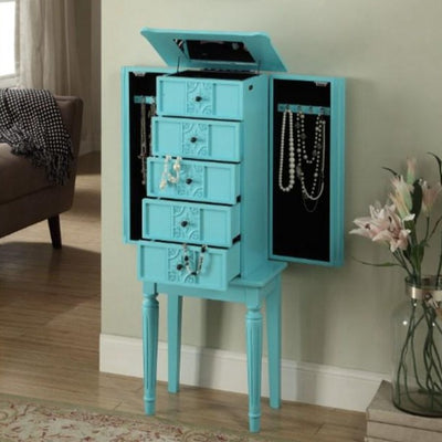 Rustic Jewelry Armoire Standing Jewelry Box Cabinet with 5 Storage Drawers and 2 Side Drawers Mirror