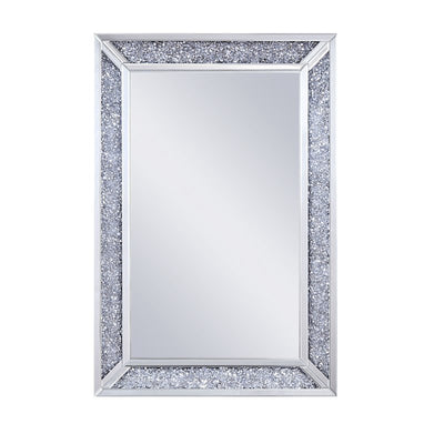 Ornate Large Decorative Wall Mirror with Faux Diamonds Silver Frame