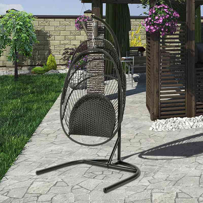 Outdoor Egg Swing Chair with Stand Front Porch Hanging Chair Patio Garden Furniture