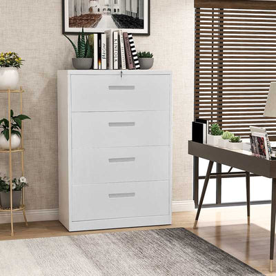 Home Office Lateral File Cabinet Metal Steel Storage cabinet with lock Anti-tilt structure 4 Drawers