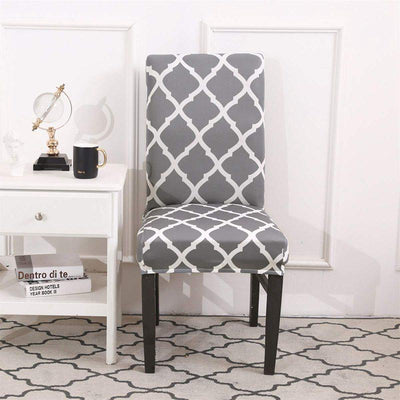 Grey Stretch Dining Chair Covers Elastic Chair Seat Protector for Dining Wedding Banquet Party Decoration