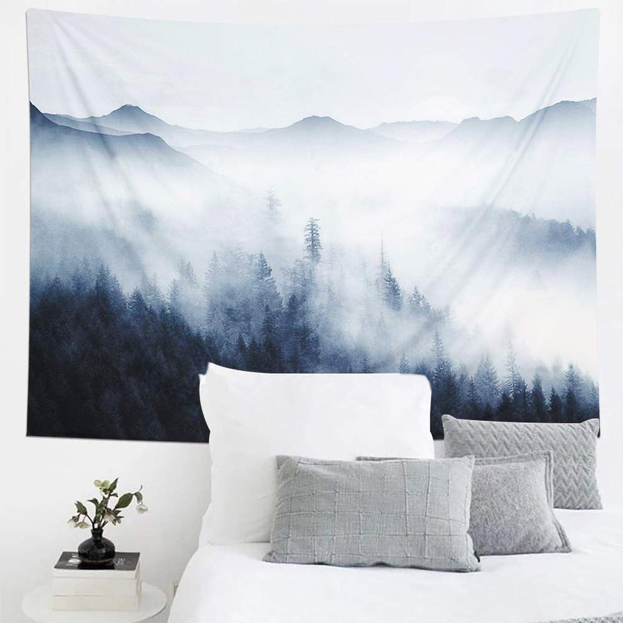 Misty Fog Nature Forest Landscape Wall Tapestry Aesthetic Tapestry Wall Hanging Room Tapestry