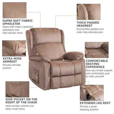 Power Lift Chair Soft with Remote Control Fabric Upholstery Recliner Living Room Sofa