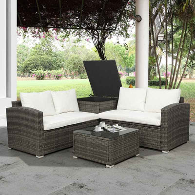 4 Piece Outdoor Sectional Sofa Set Patio Furniture Garden Seating Couch With 2 Table